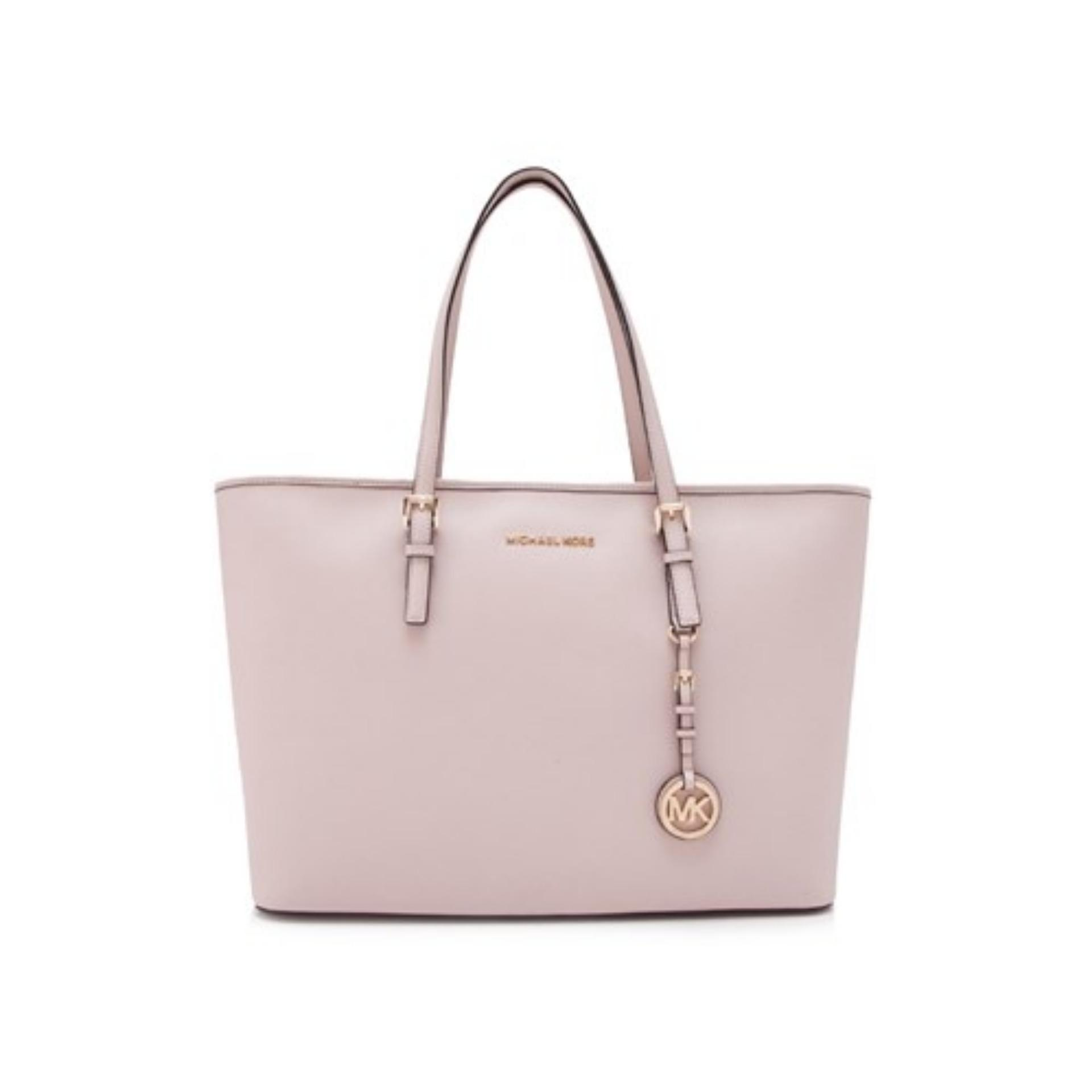2c44a0263cff Michael Kors Jet Set Travel Gold Tone Medium Top Multifunctional Tote Bag (Soft  Pink)