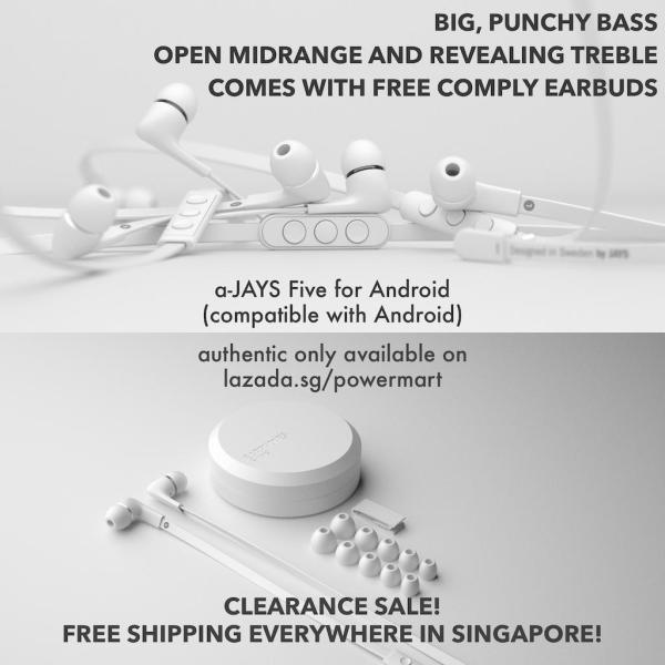 a-JAYS Five In-Ear Headphones for iOS / Windows (works with Android) - Black & White Singapore