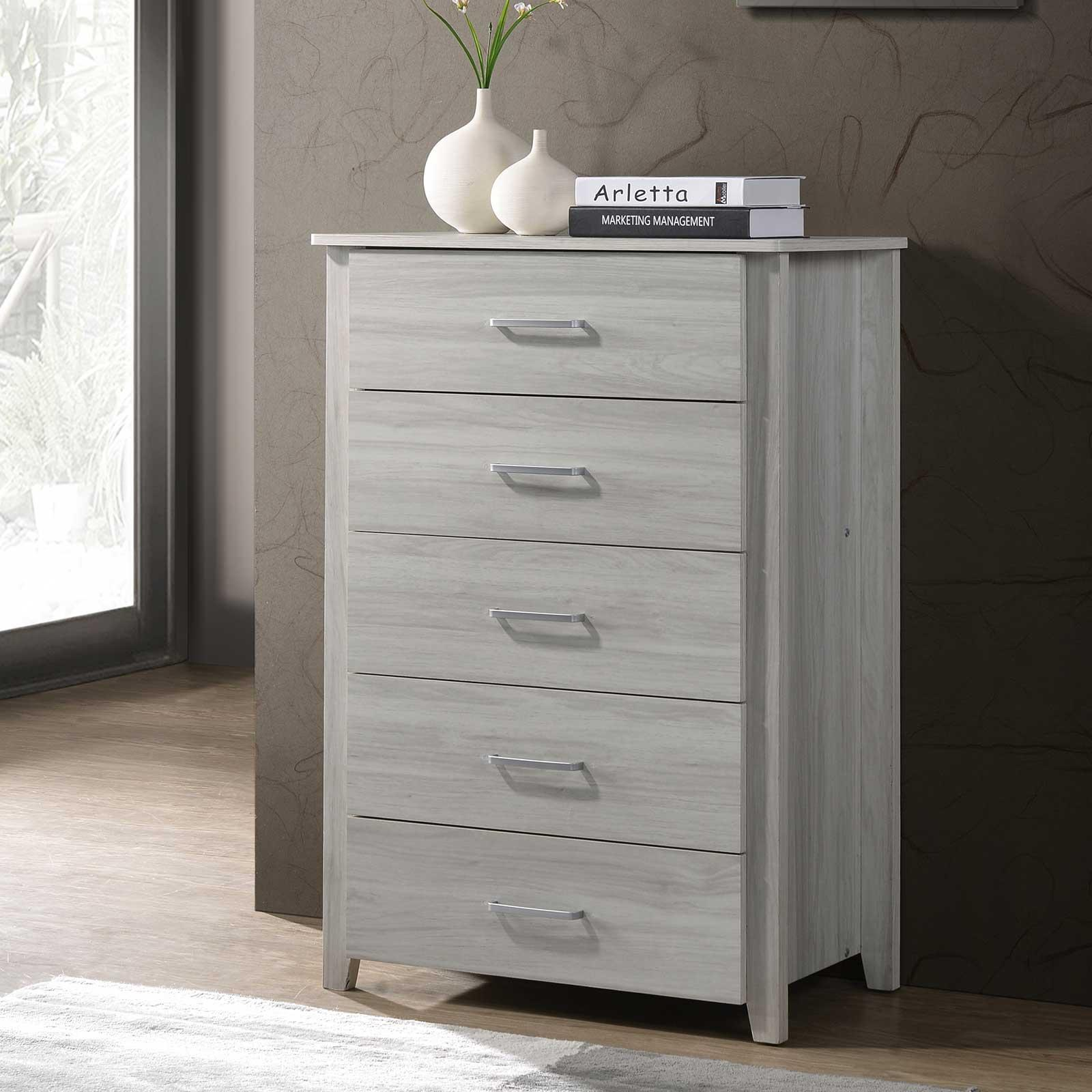 5 Chest of Drawers in White Oak Cabinet Storage Tallboy Bedroom⭐ E-LIVING Furniture