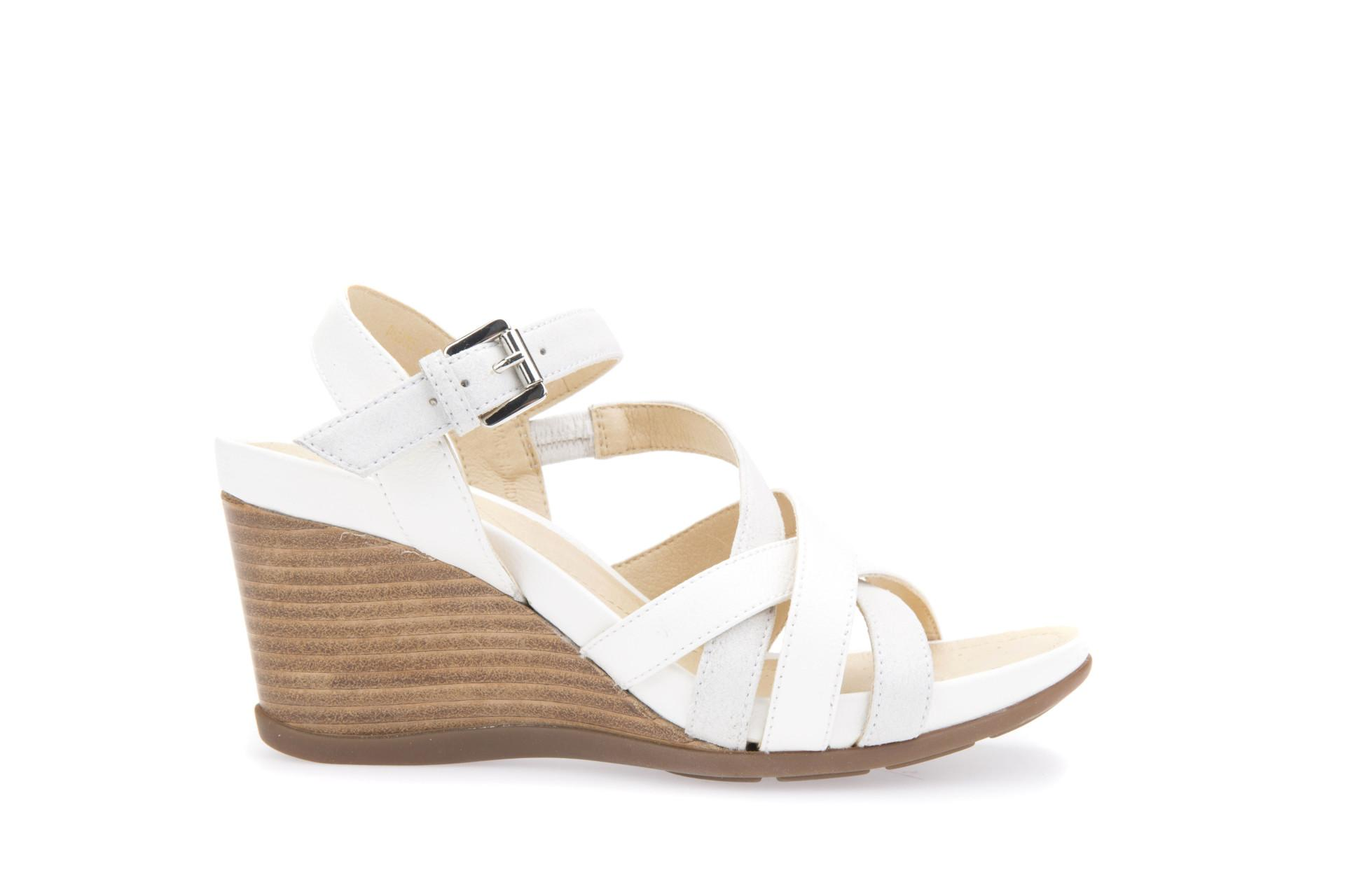 7b3ad830230 GEOX WOMEN SHOES DRESS SANDAL D DOROTHA C WHITE/PLATINUM