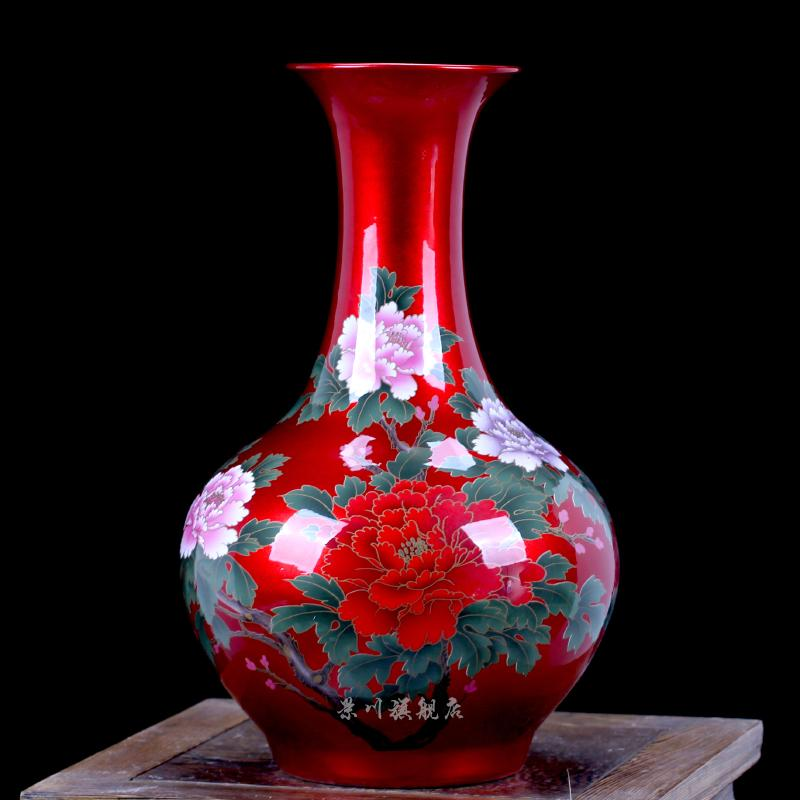 Table-board Vase Jingdezhen Ceramic Works Red shui jing you Blossoming HYUNDAI Home Decoration Living Room Decoration