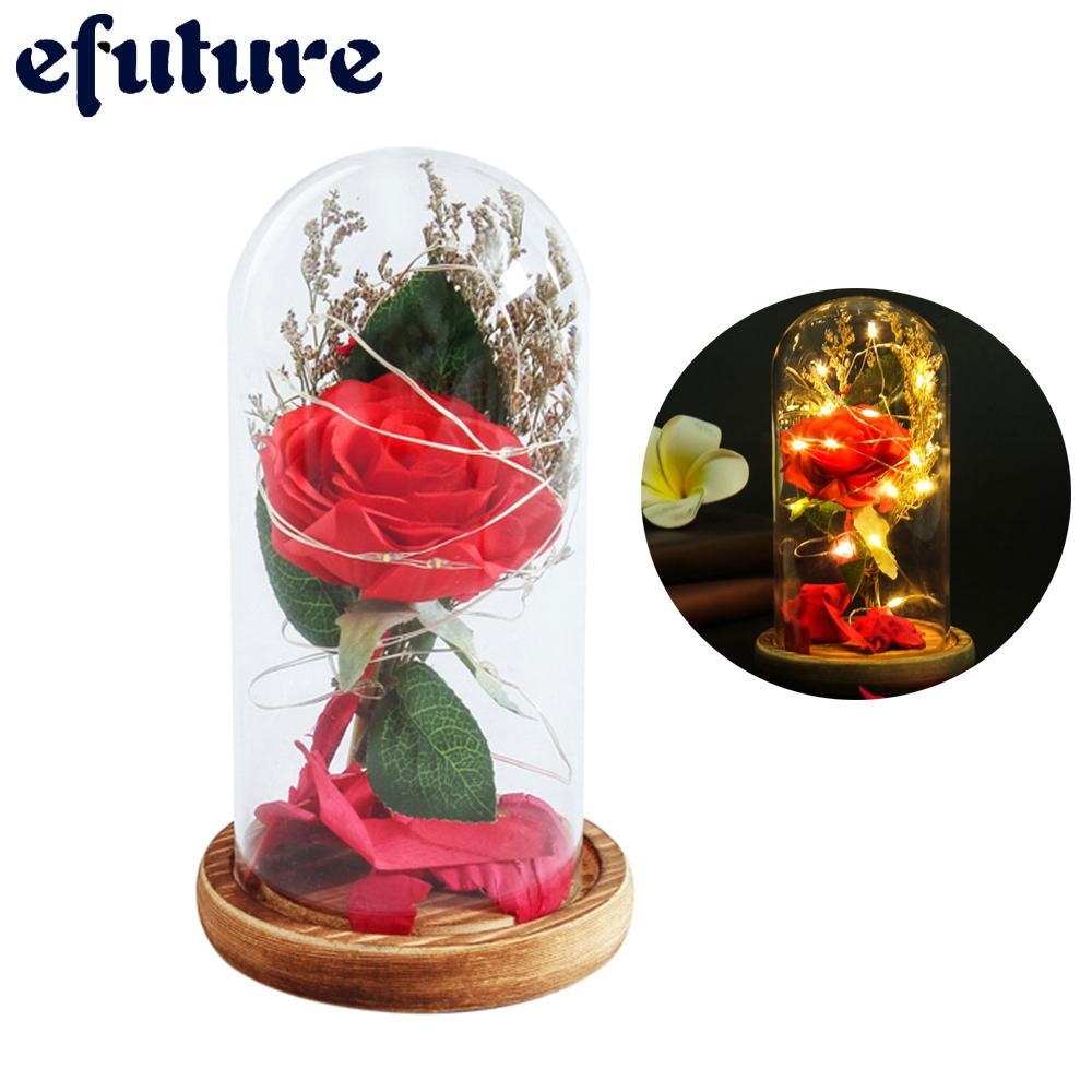 efuture Eternal Rose Flower Preserved Fresh Plastic Beauty Led Light Red Roses Flowers Glass Cover Gifts