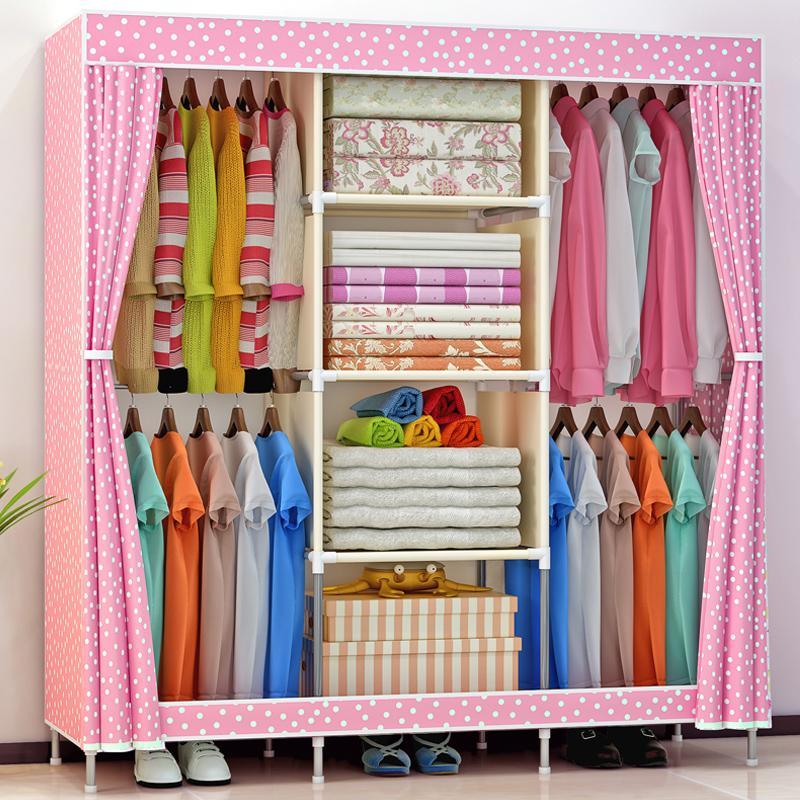 Shome nuo Simple Wardrobe Assembly Fabric Storage Cabinets Economy Steel Pipe Rough Minimalist Modern Cloth Wardrobe Closet