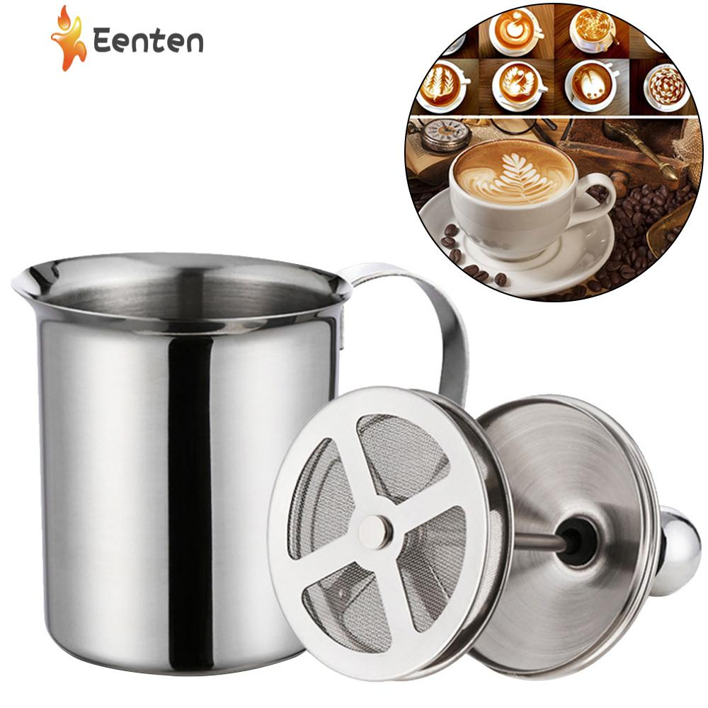 Eenten Stainless Steel Milk Frother, Manual Operated Hand Pump Milk Foamer Coffee Maker, Milk Foam Maker For Cappuccinos And Latte Coffee - 400ml - Intl By Eenten.