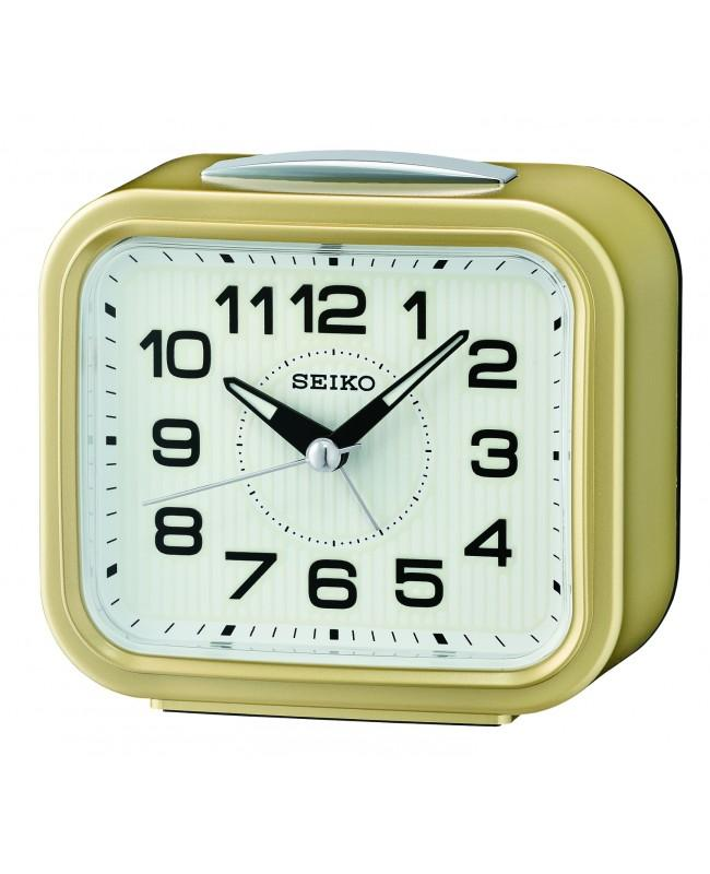 SEIKO QHK050 QHK050G Digital Metallic Gold Color White Dial Bedside Alarm Clock