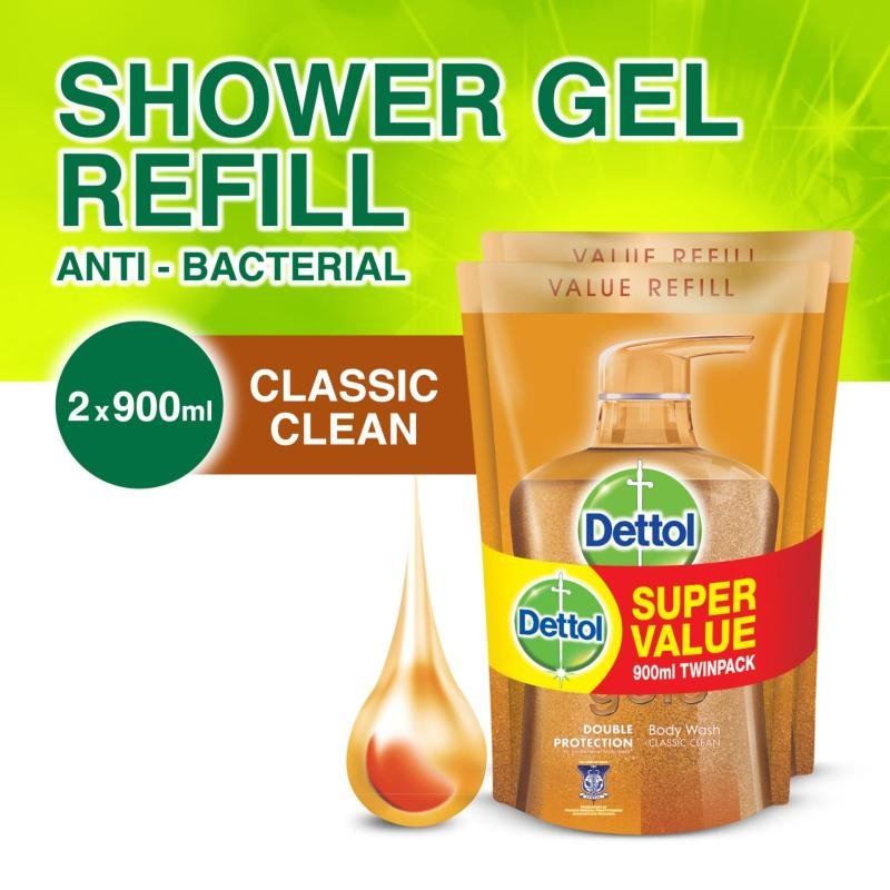Buy Dettol Gold Classic Clean Body Wash - Refill Twin Pack 900ML x 2 Singapore