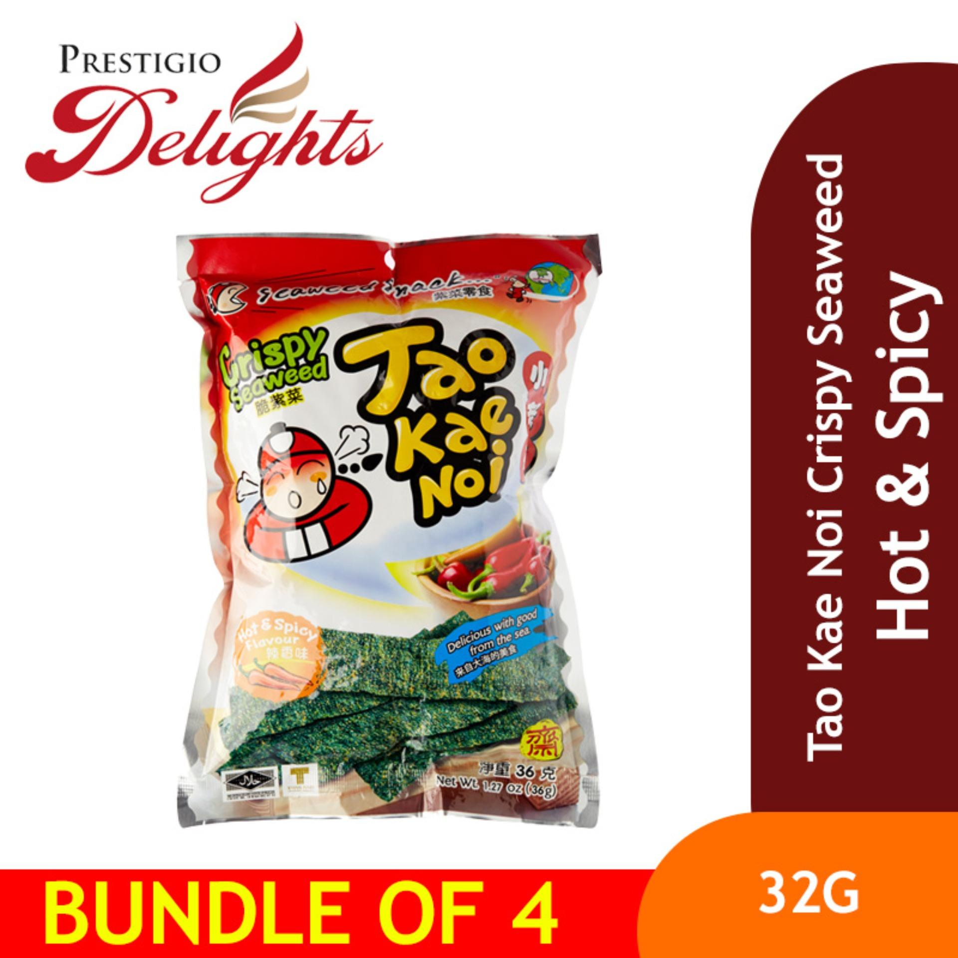 Tao Kae Noi Crispy Seaweed - 32g Hot & Spicy Bundle Of 4 By Prestigio Delights.