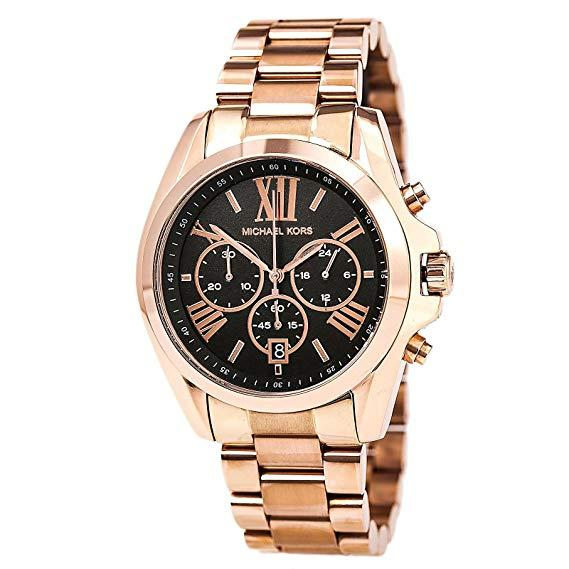 Michael Kors Bradshaw Chronograph Rose Tone Black Dial 43mm Ladies Watch Mk5854 By Watch Centre