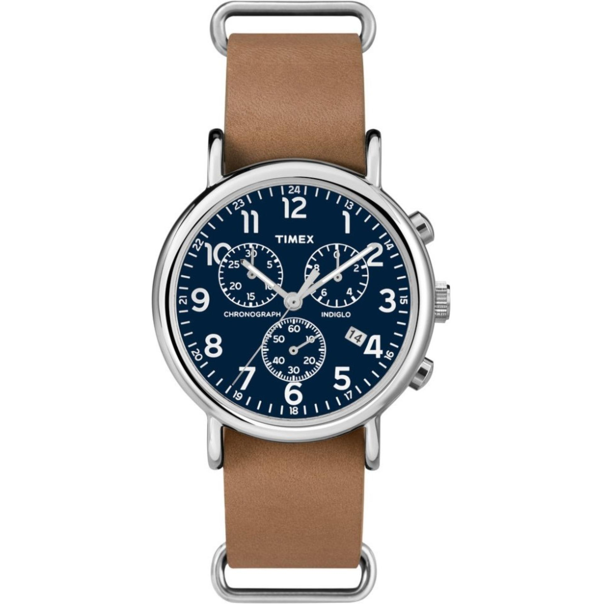 Purchase Timex Weekender™ Chrono Oversized Tan Leather Strap With Blue Dial Tw2P62300 Online