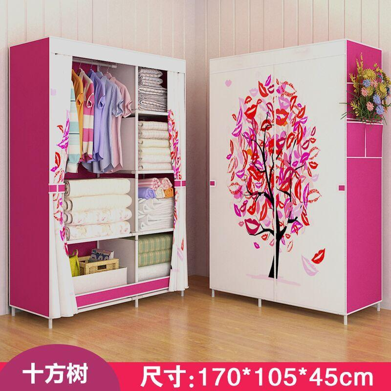 LEHUOSHIGUANG Simple Wardrobe Fabric Cloth Wardrobe Steel Pipe Reinforced Steel Frame Closet Dormitory Folding Storage Cabinets