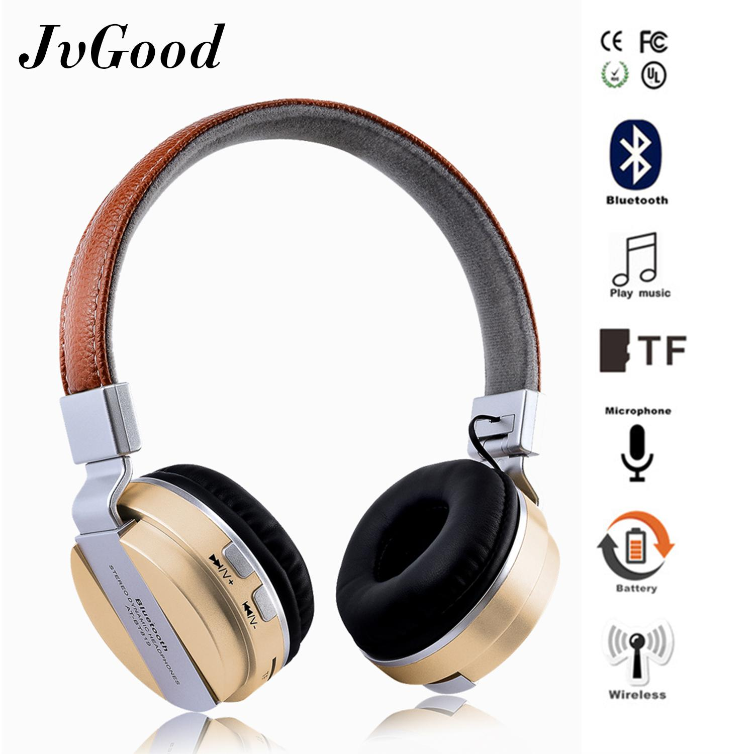 Jvgood Wireless Bluetooth Headphone Foldable Leather Sport Headset With Fm Radio Aux Tf Card-Mp3 Smart Phones Tablets By Jvgood.