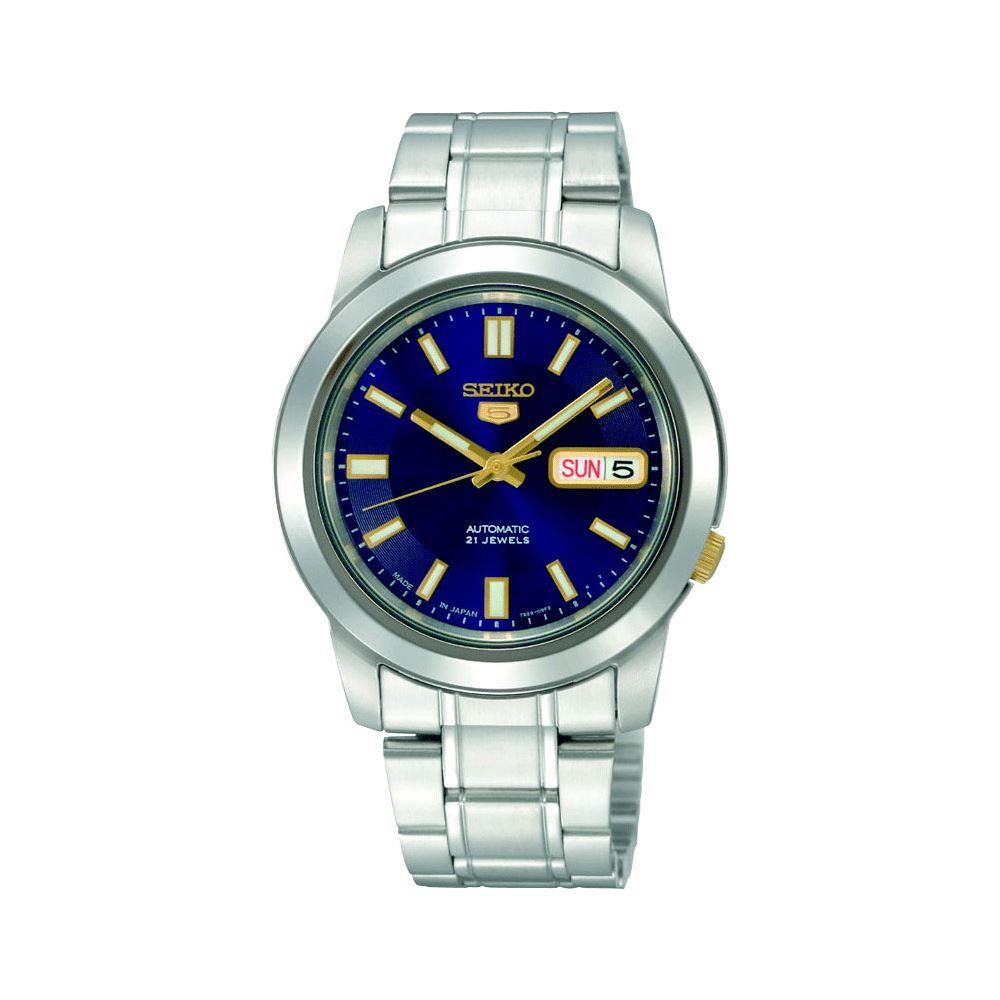 Get Cheap Seiko 5 Men Automatic Watch With Royal Blue Dial Gold Index