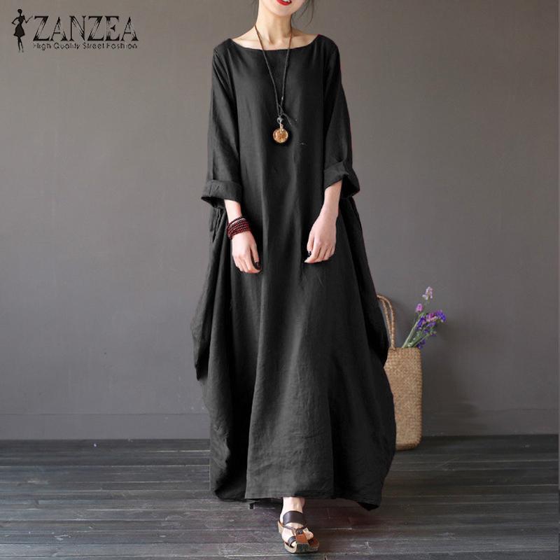 Lowest Price Zanzea Womens Crewneck 3 4 Batwing Sleeve Baggy Maxi Long Shirt Dress Casual Party Kaftan Solid Robe Vestido Plus Size Black Intl
