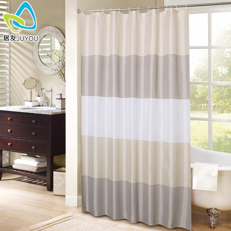 Juyou Thick Dacron Shower Curtain Cloth Curtain Bathroom Waterproof Mould Proof-Free Punched Partition Curtain By Taobao Collection.
