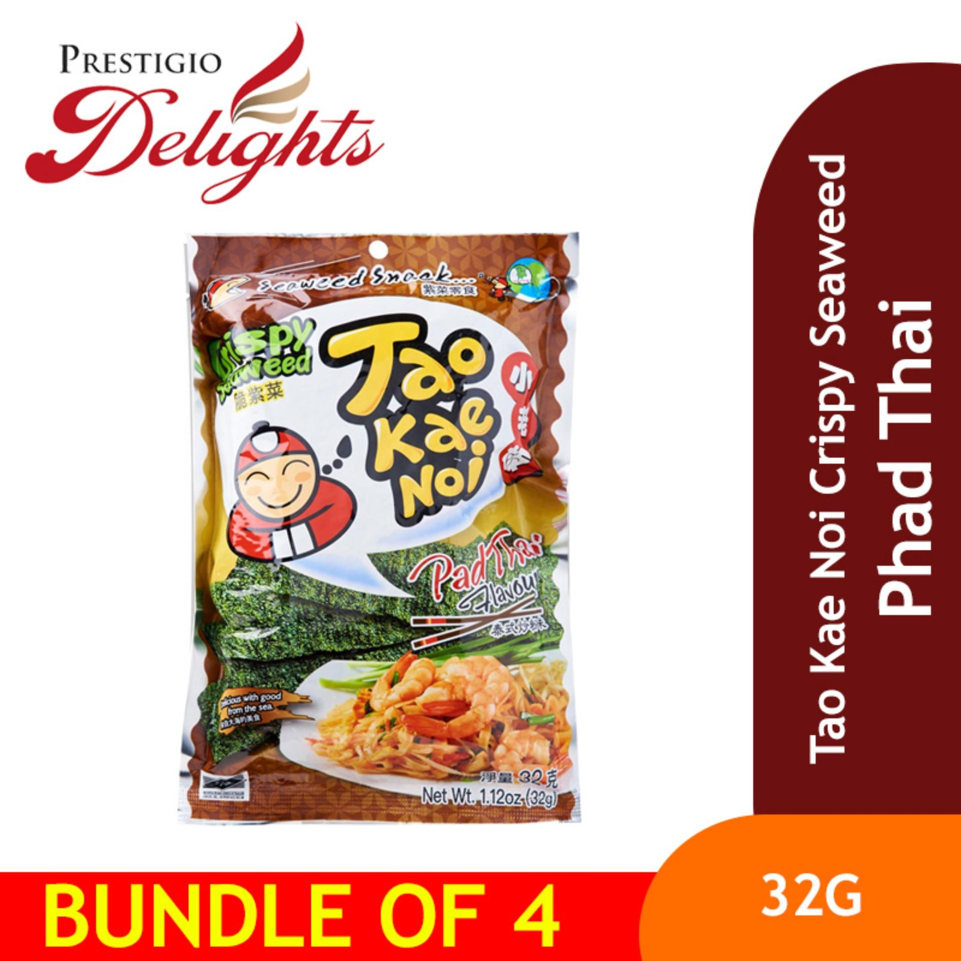 Tao Kae Noi Crispy Seaweed - 32g Phad Thai Bundle Of 4 By Prestigio Delights.