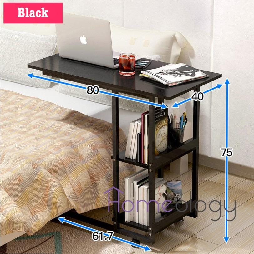 Movable Study Table Space Saving Beside Desk Computer Laptop Tables