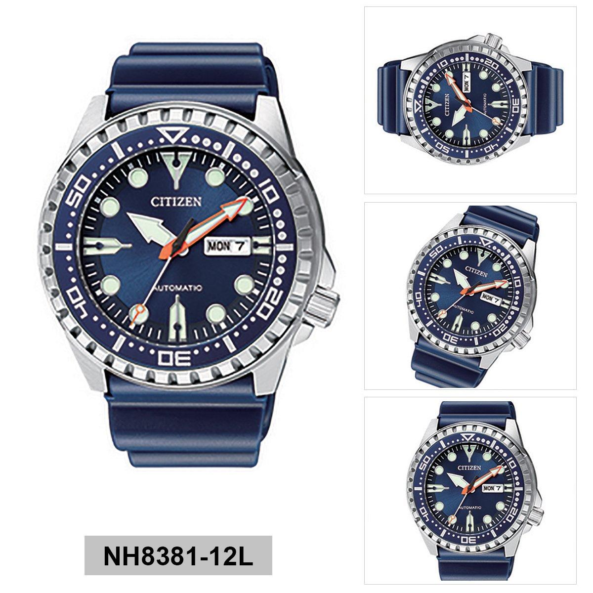 Citizen Citizen Mechanical Blue Stainless-Steel Case Rubber Strap Mens Nh8381-12l By Watcheszon.