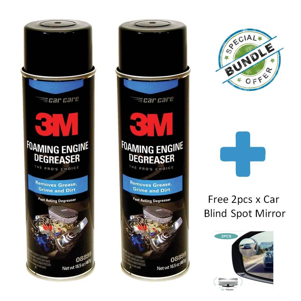 [special Bundle] 2 X 3m Foaming Engine Degreaser, 16.5 Ounce, 08899 + Free Car Blind Spot Mirror By Masstec.