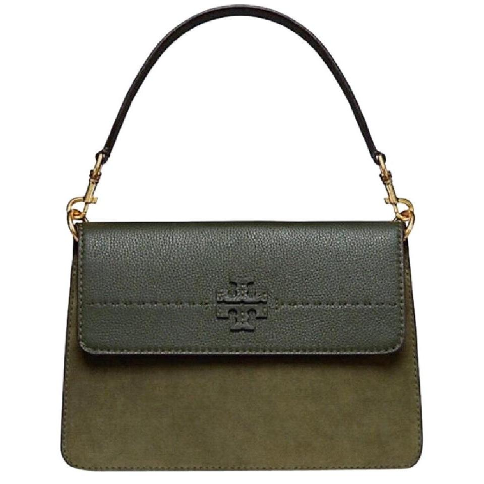 TORY BURCH MCGRAW MIXED SUEDE SHOULDER BAG (OLIVE GREEN)