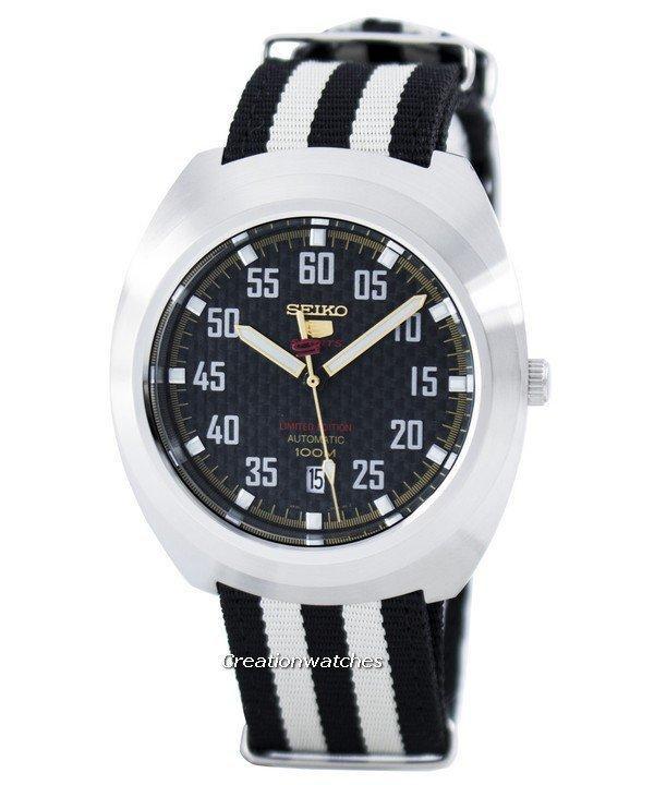 Seiko 5 Sports Limited Edition Automatic Men's Black & White Nylon Strap Watch SRPA93K1