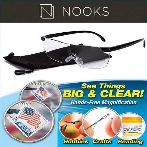 Buy NOOKS - Big Vision Glasses 160% Magnifications /Optical Quality Lens/Fit Over Prescription Lens Singapore
