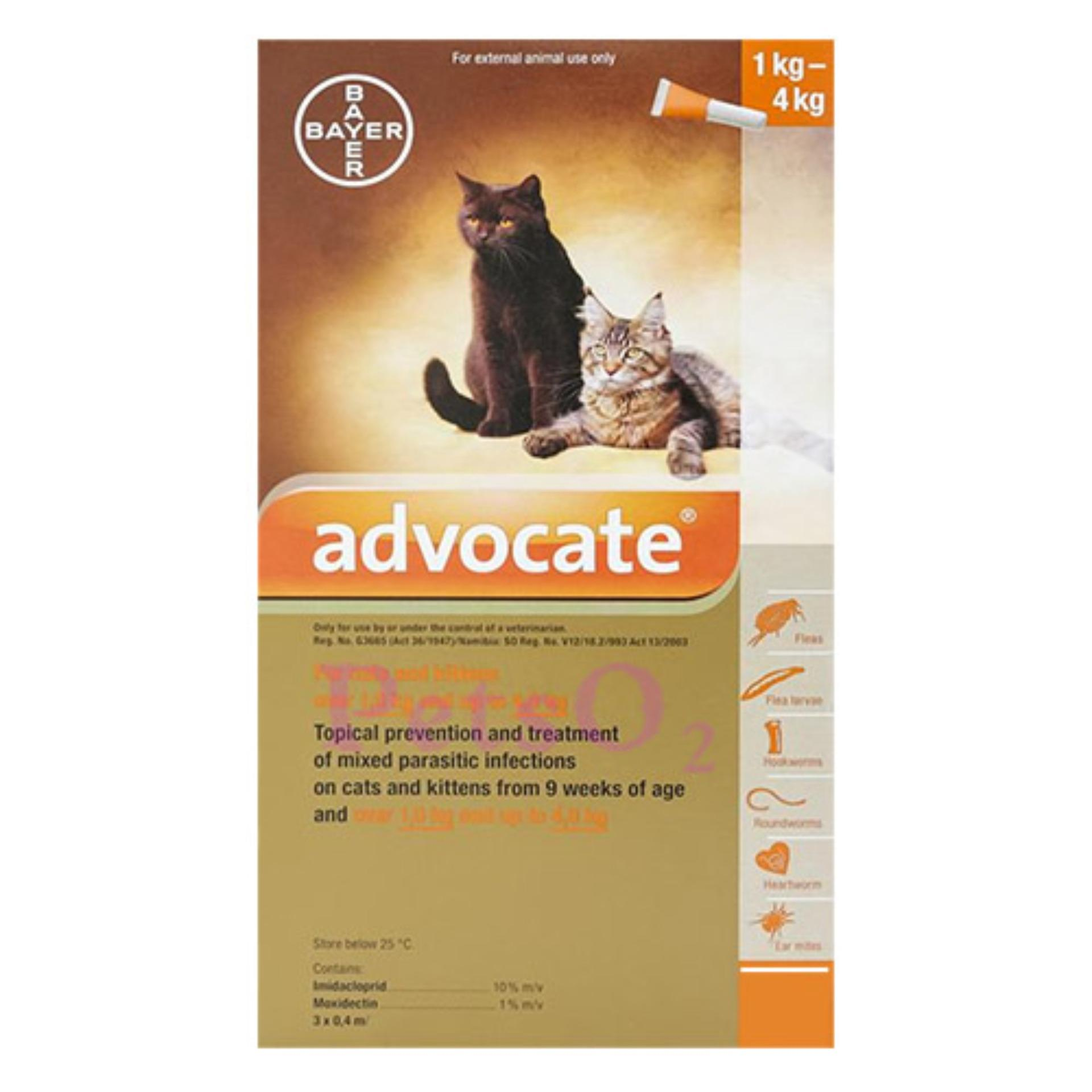 Bayer Advocate Flea And Heartworm Treatment For Cats (1 - 4kg) By Petso2.
