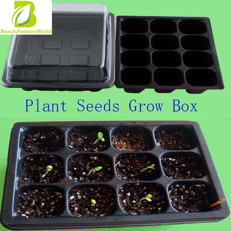 New Useful 12 Cells Hole Plant Seeds Grow Box Tray Propagation Cloning Case By Beautyfashionworld.