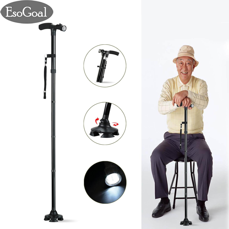 Esogoal Folding Cane Walking Stick With Led Light Adjustable,walking Stick With 5 Adjustable Height Levels Aluminum Alloy Walking Cane For Men Women By Esogoal.
