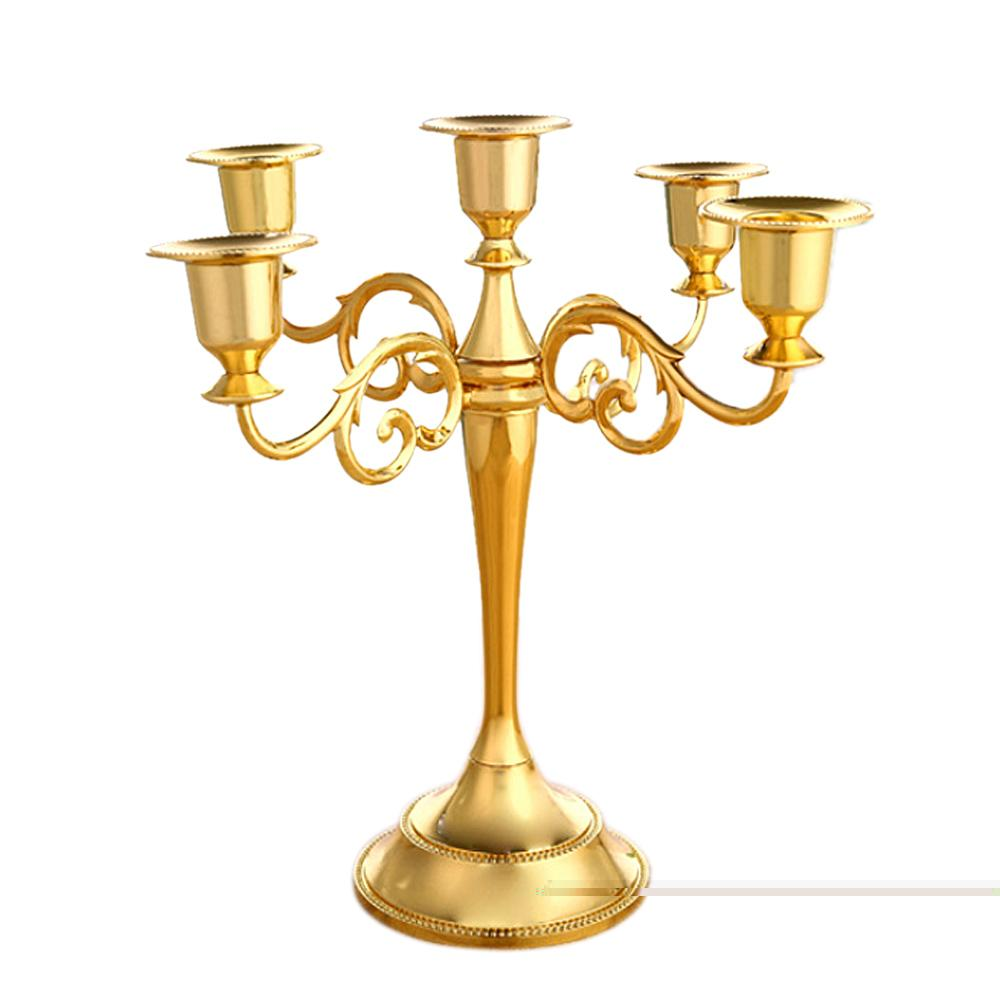 Antique 5-Arms Candle Holder Stand Candlestick Candelabra for Home Hotel Wedding Party Bar Golden