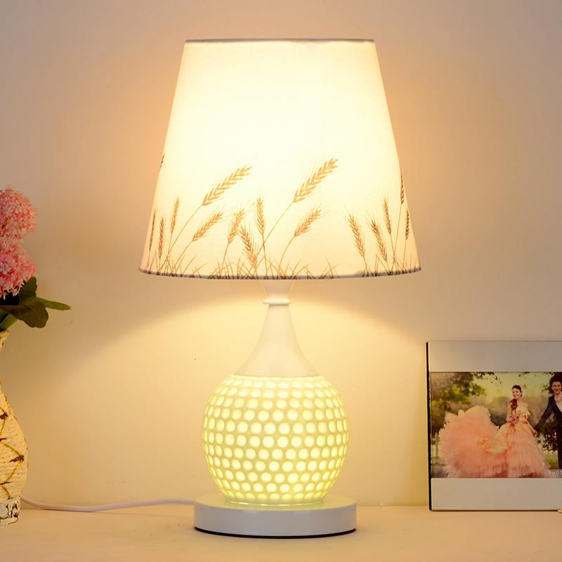 LED Bedside Nursing Lamp Reading Table Lamp European Style Bedside Lamp E27 Fashion Garden Ceramic Wedding Table Lamp Creative Fashion Desk Lamps Home Decor Lights Book Lamps with Warm Light Bulb (Energy Class A++) 27x43cm - intl