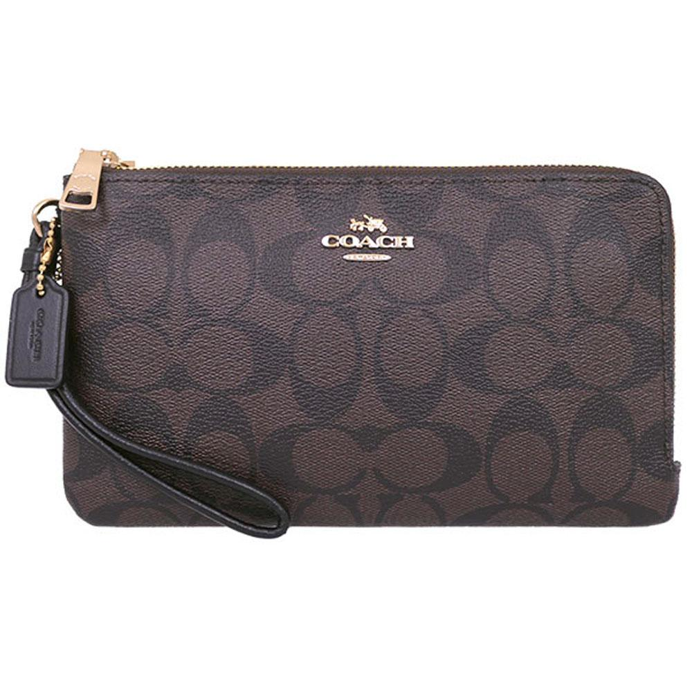 Coach Large Double Zip Wallet In Signature Coated Canvas Large Wristlet Black / Brown # F16109 + Gift Receipt