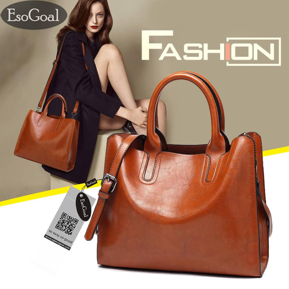 Esogoal Womens Large Capacity Leather Bag Top Handle Satchel Handbag Fashion Purse Messenger Tote Shoulder Bag By Esogoal.
