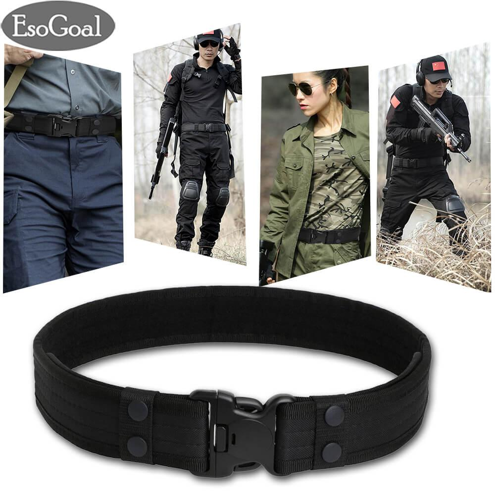 Esogoal Tactical Combat Belt Utility Gear Adjustable Heavy Duty Police Military Equipment With Side Release Buckle (black) By Esogoal.