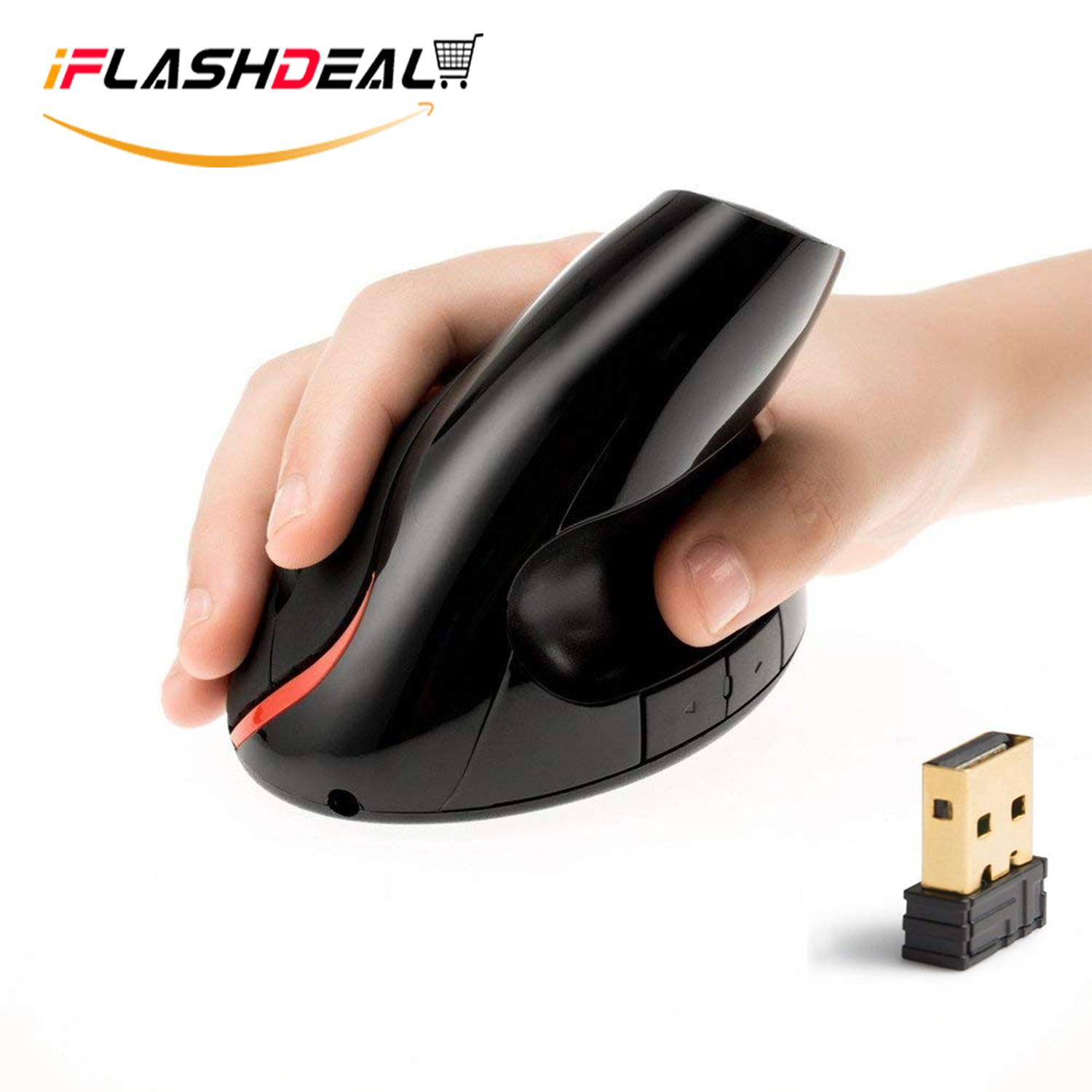 iFlashDeal Wireless Vertical Mouse Ergonomic Gaming Mice with Thumb Groove High Accuracy and Zero Latency Reduces Hand Wrist Pain  for PC Computer Laptop Tablet