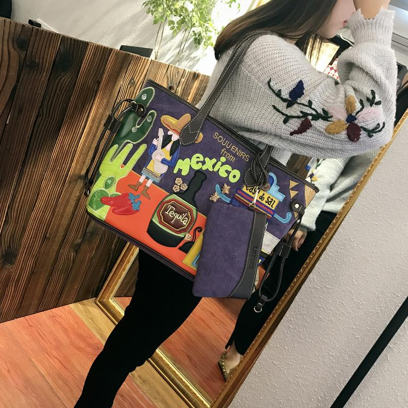 Bag Female 2019 New Style Korean Style Embroidered Literature And Art Large Capacity Canvas Bag Simple Portable Shoulder Bag Tote Bag