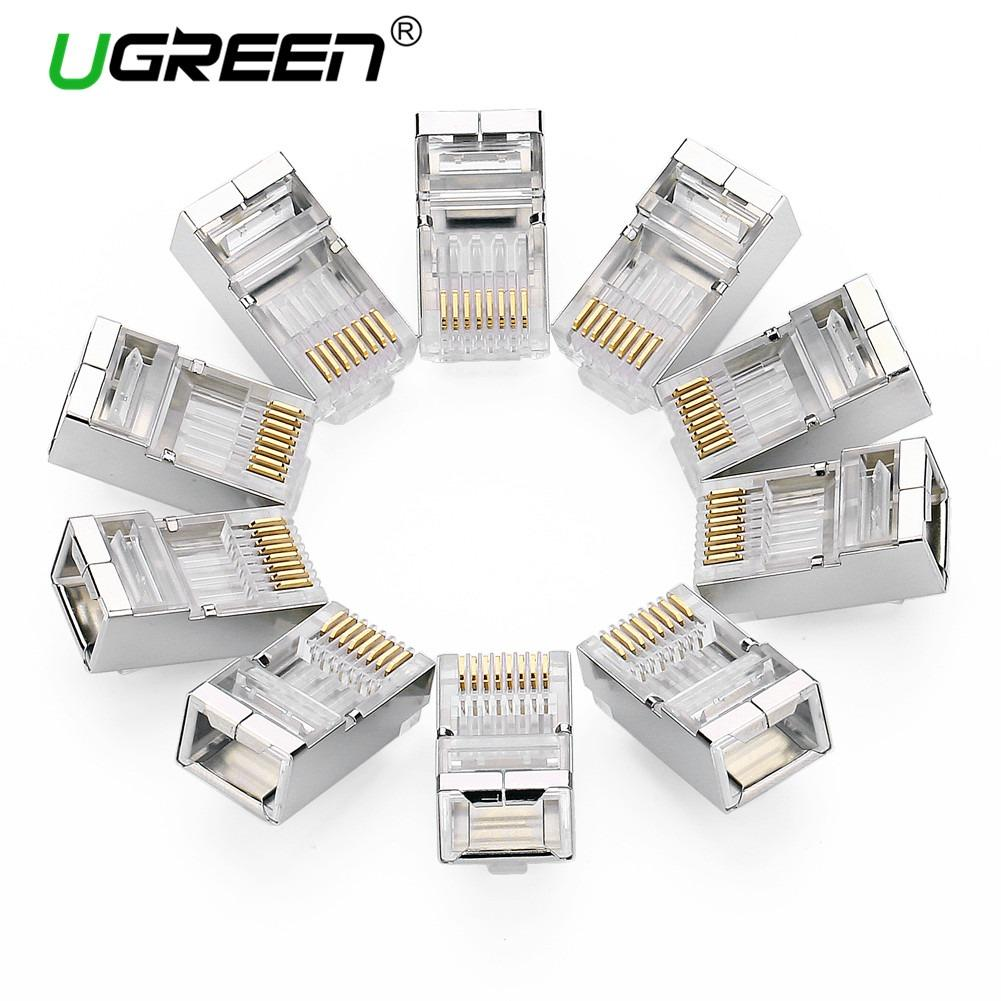 Ugreen Cat6 RJ45 Connector 8P8C Modular Ethernet Cable Head Plug Gold-plated Cat 6 Crimp Network RJ 45 Connector Cat6-10 PCS