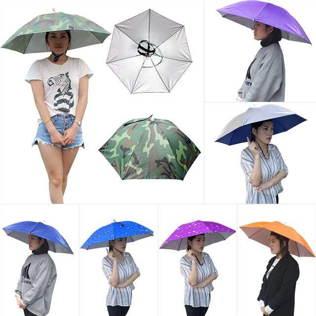 8139f58f616aa Outdoor Foldable Sun Umbrella Hat Golf Fishing Camping Headwear Cap Head Hat  76cm Umbrella