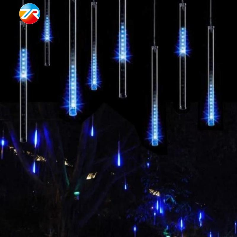 Blue Cold Light Meteor Shower Falling Star Rain Drop LED String Light Fairy - intl