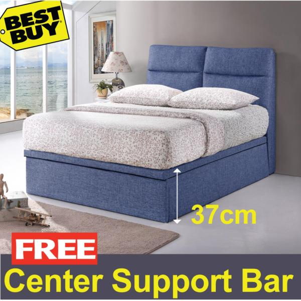 Valentino Storage Bed Frame * 14-inch Storage Height * Fabric Upholstery * Dark Blue color  * Free Delivery