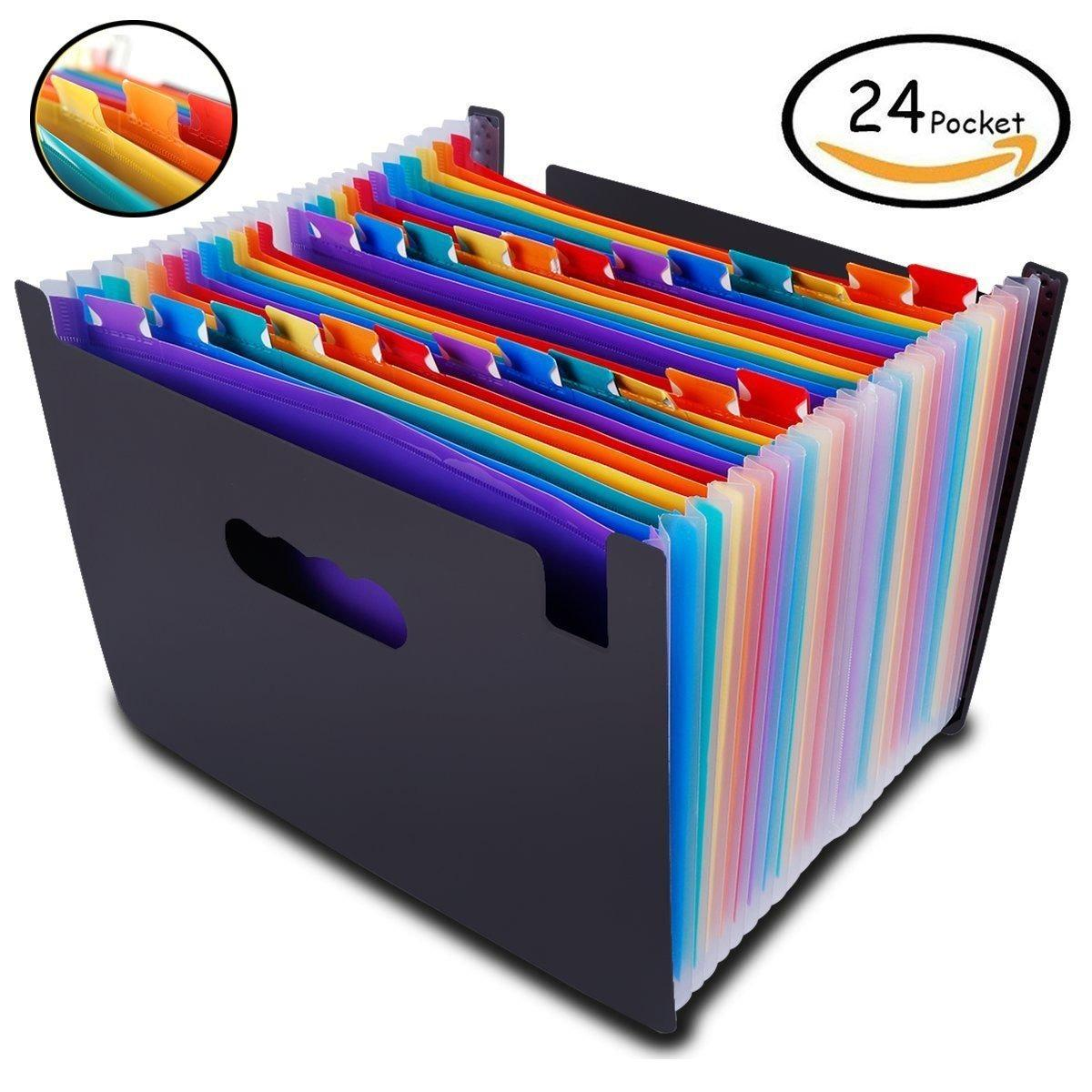 Retail Expanding File Folder Large Plastic Rainbow Expandable File Organizer Self Standing Accordion A4 Document Folder Wallet Briefcase Business Filing Box 24 Pockets Intl