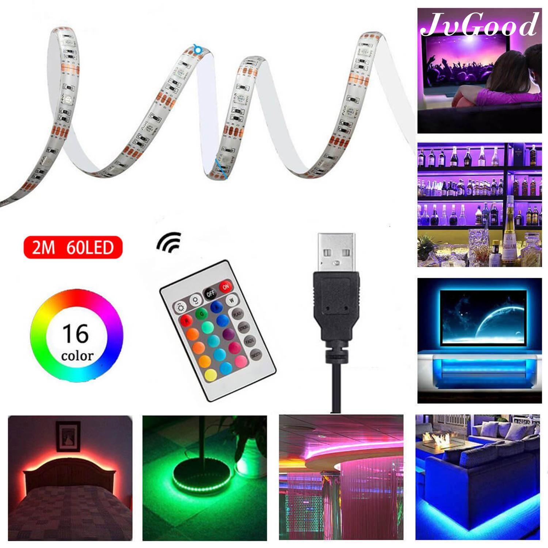 JvGood LED Strip Lighting Waterproof TV Backlight 5050 RGB Changing Color Strip Kit, USB Power Monitor Back Light Bias Lighting with Remote Controller 2M 60 LEDs Singapore