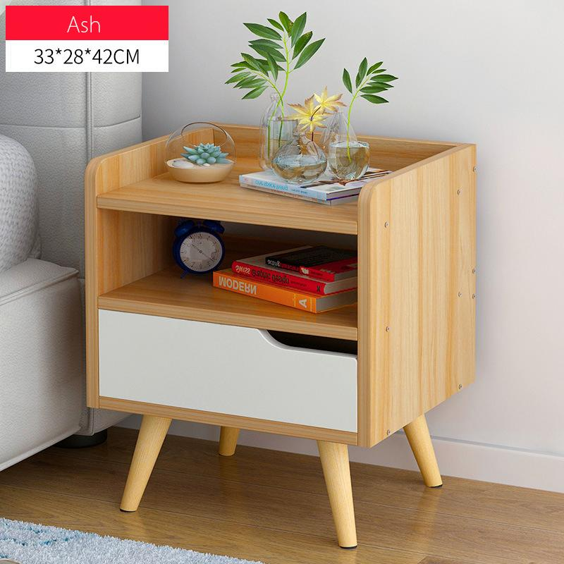 Minimalist  Wooden Bedside Table With Single Drawer(Ash)