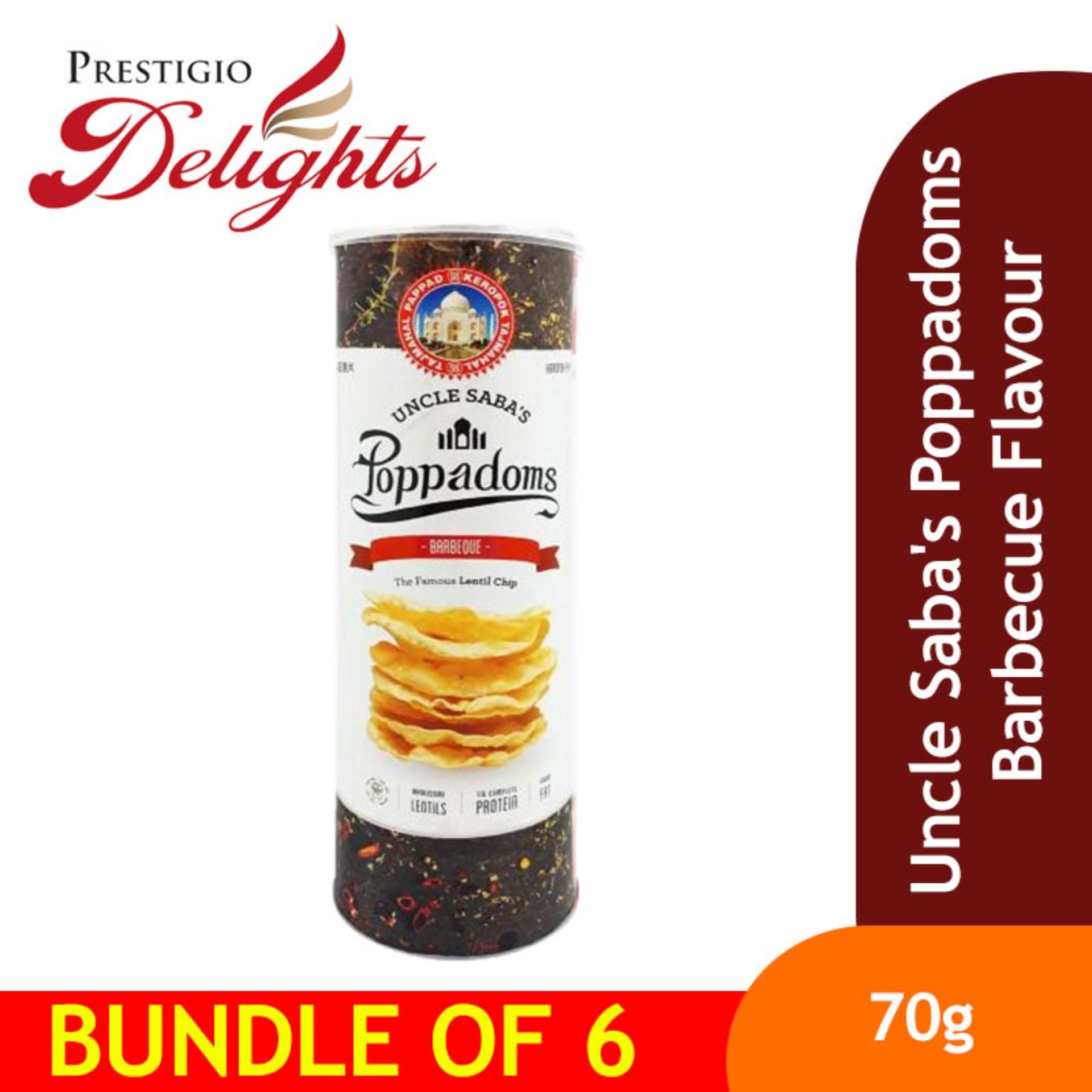 Uncle Sabas Poppadoms Barbecue Flavour Bundle Of 6 By Prestigio Delights.