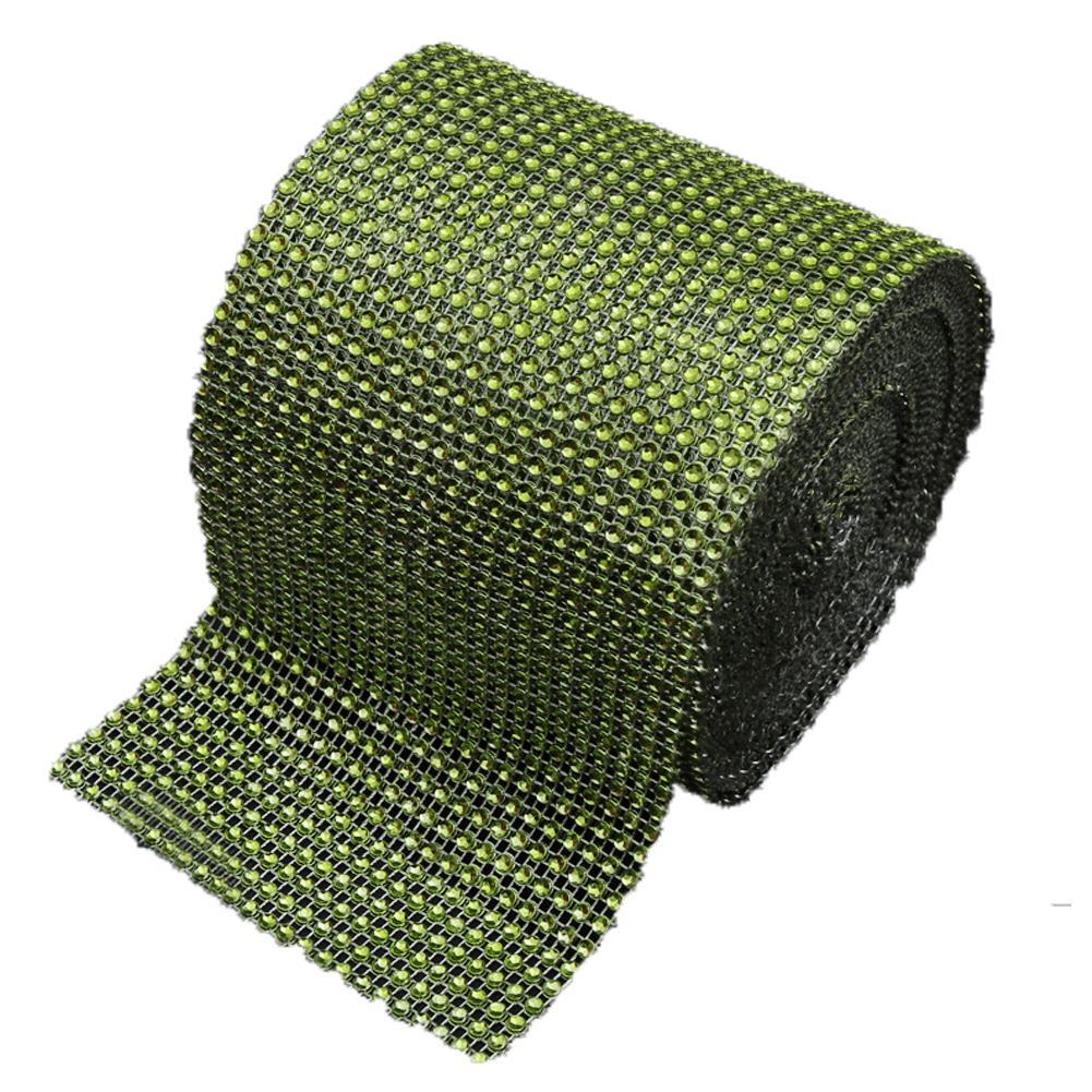 Diamond Rhinestone Ribbon Wrap Bulk 4.6 inches width,Wedding Party Decorations Color:Grass Green Size:10 yards