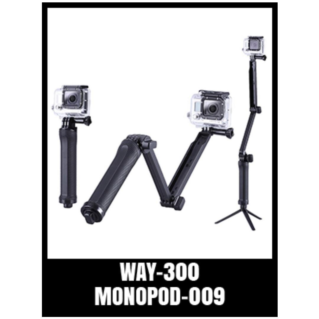GoPro 3 Way Selfie Stick Monopod Tripod SJCam Travel Action Cam Accessories