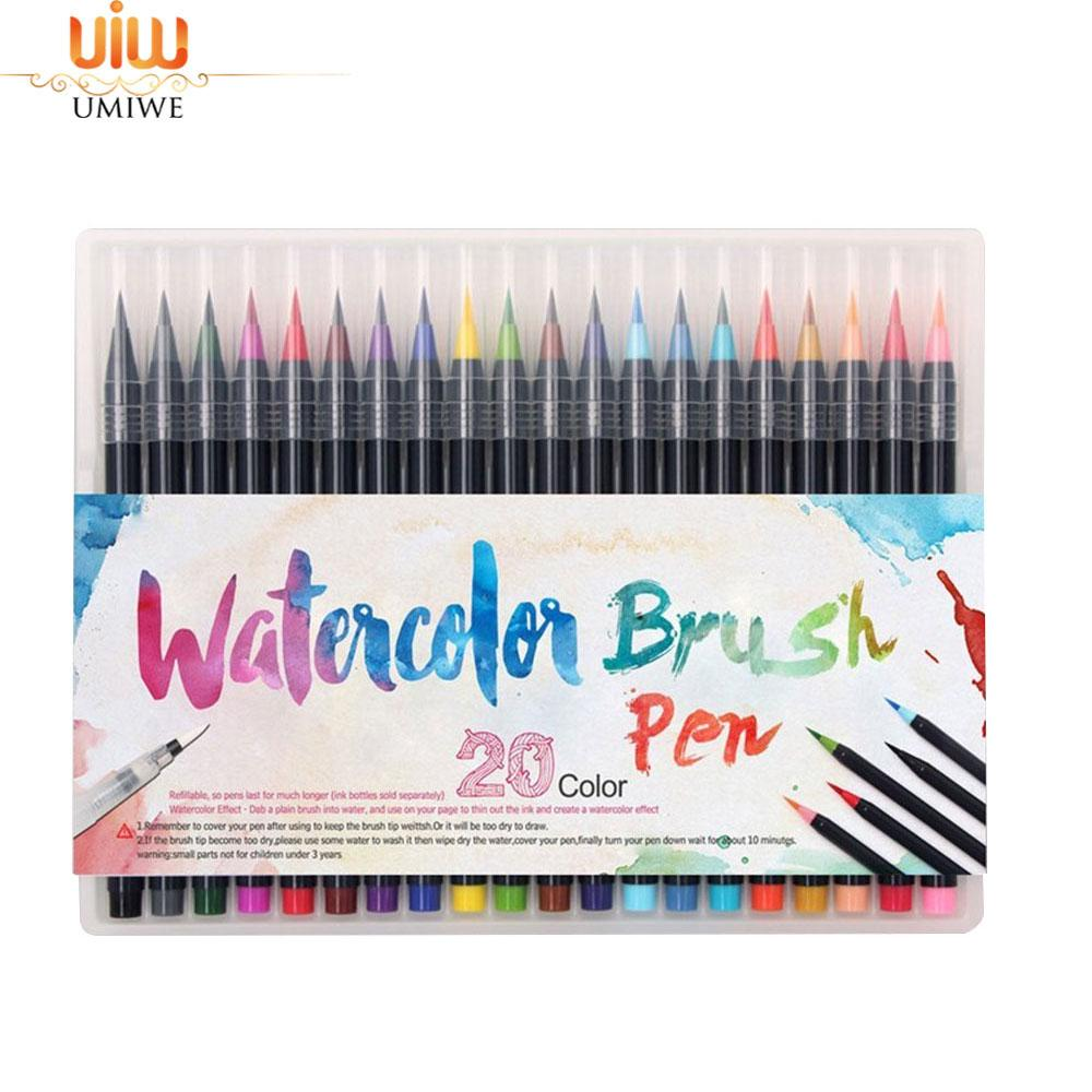 Umiwe 20 Color Premium Painting Soft Brush Pen Set Watercolor Markers Pen Effect Best For Coloring Books Manga Comic - Intl By Umiwe.