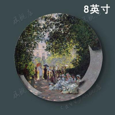 8 Inches MONET Oil Painting Decorative Plates Wall European Style Living Room Restaurant Wall Hangers Disk Ceramic Plate Presentation
