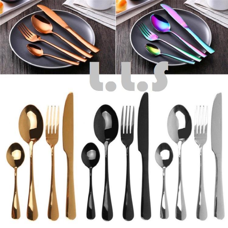 4pcs Stainless Steel Knife, Fork, Spoon Luxury Cutlery Dinnerware Tableware Set (kc1094) Singapore Seller + 100% Authentic By Life Little Secret.