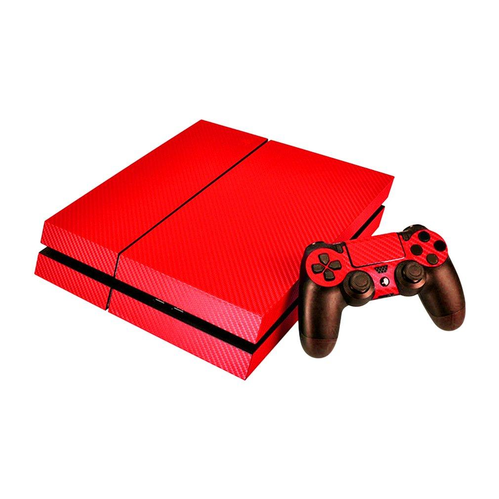 Carbon Fiber Protector Cover Skin Professional PS4 Console Stickers Decal With Controller Stickers For PlayStation 4 PS4