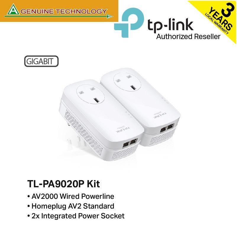 Tp-Link Tl-Pa9020p Kit Av2000 2-Port Gigabit Passthrough Powerline Starter Kit By A Genuine Technology.